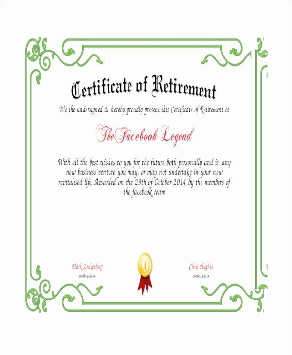 Retirement Certificate Templates For Word New Sample throughout Printable Retirement Certificate Template