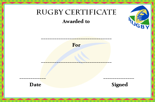 Rugby League Certificate Templates 1 for Rugby Certificate Template