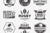 Rugby Logo Vector Colorful Set Football Badge Logo inside Rugby League Certificate Templates