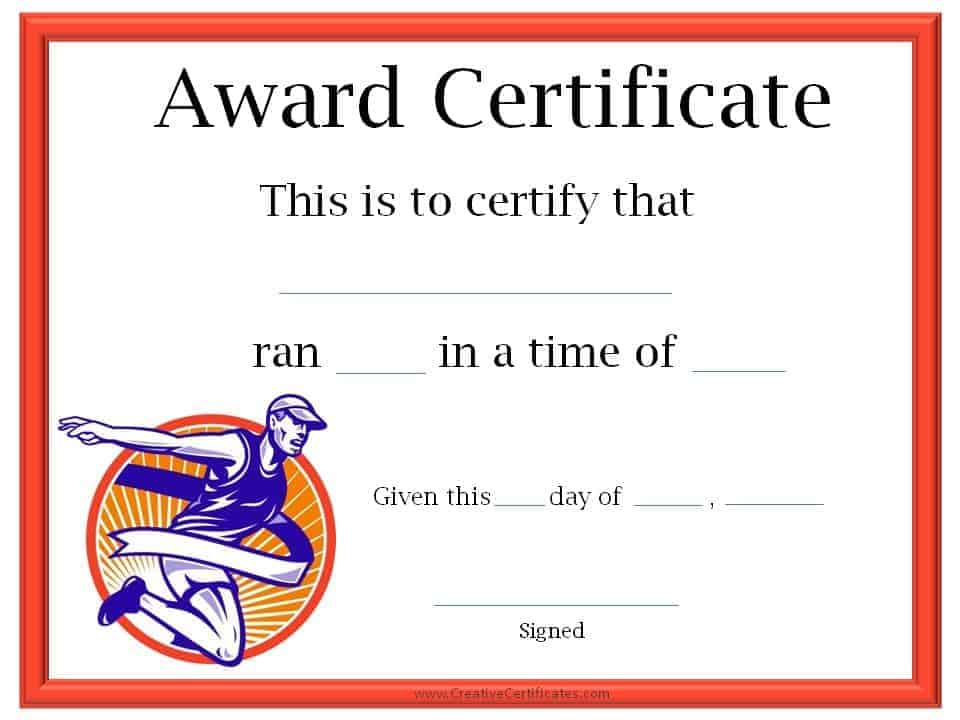 Running Certificate Templates Free  Customizable for Running Certificate Templates