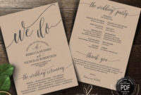 Rustic Wedding Program Pdf Card Template Instant Download inside Amazing Wedding Ceremony Agenda Template