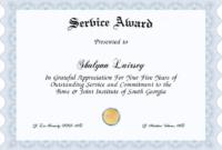 S/Service Award Certificate Templates  Template Printable in Printable Template For Certificate Of Award