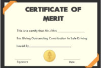 Safe Driving Certificate Template 20 Printable intended for Free Safety Recognition Certificate Template