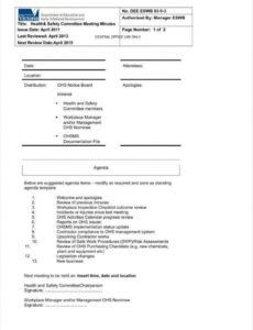 Safety Committee Agenda Template for Annual Board Meeting Agenda Template