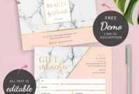 Salon Gift Certificate Template  Marble  Voucher Design pertaining to Printable Salon Gift Certificate