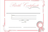 Sample Certificate Fake Birth Certificate Template Free intended for Birth Certificate Fake Template