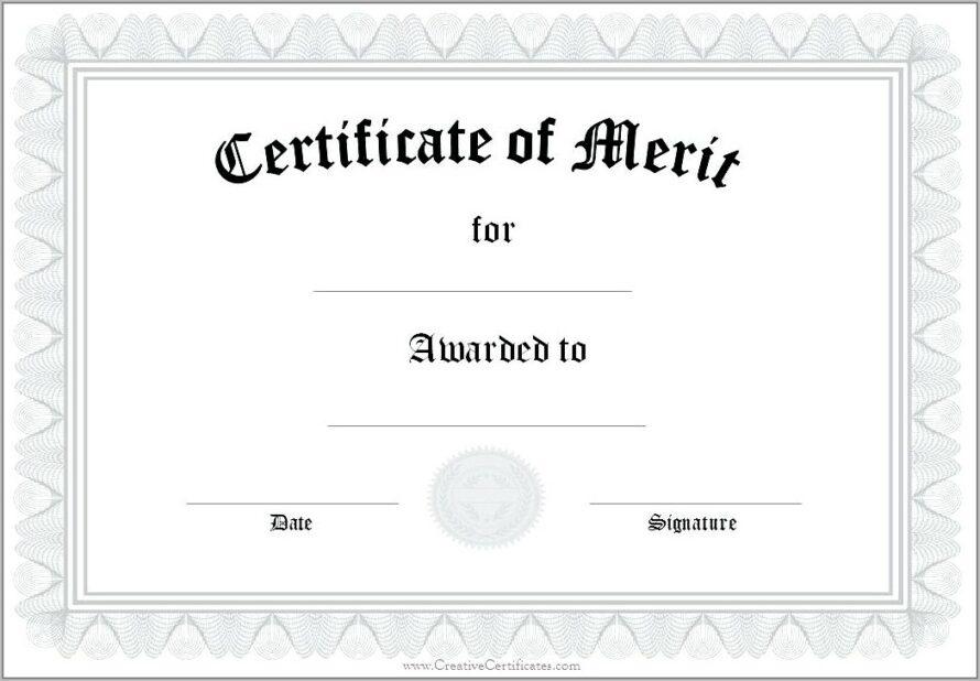 Sample Certificate Of Merit Award intended for Merit Award Certificate Templates