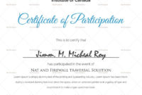 Sample Certificate Of Participation Template  Certificate regarding Free Certificate Of Participation Template Doc