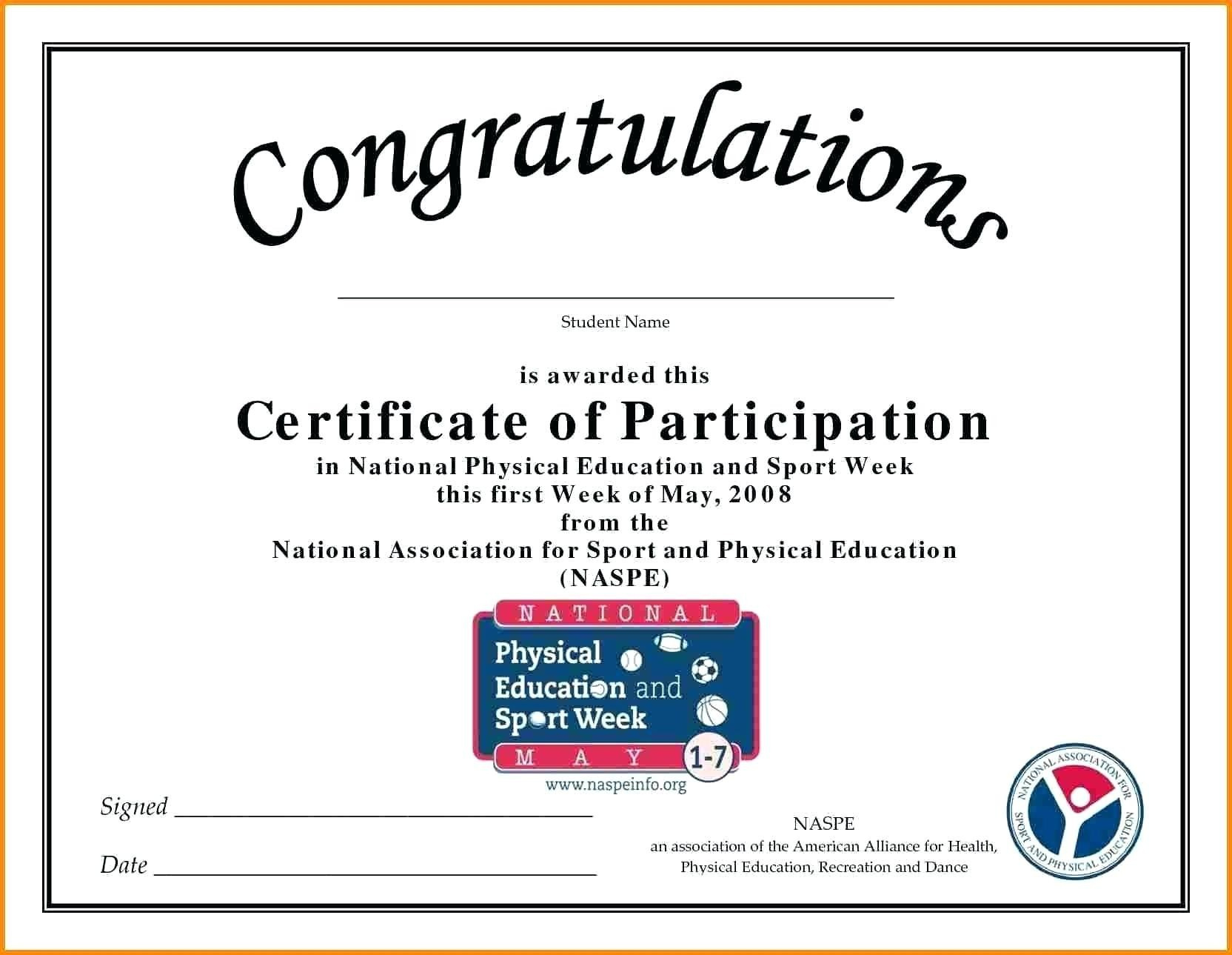 Sample Certificate Of Participation Template  Great in Certification Of Participation Free Template