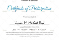 Sample Certificate Of Participation Template In 2020 with regard to Certificate Of Participation In Workshop Template