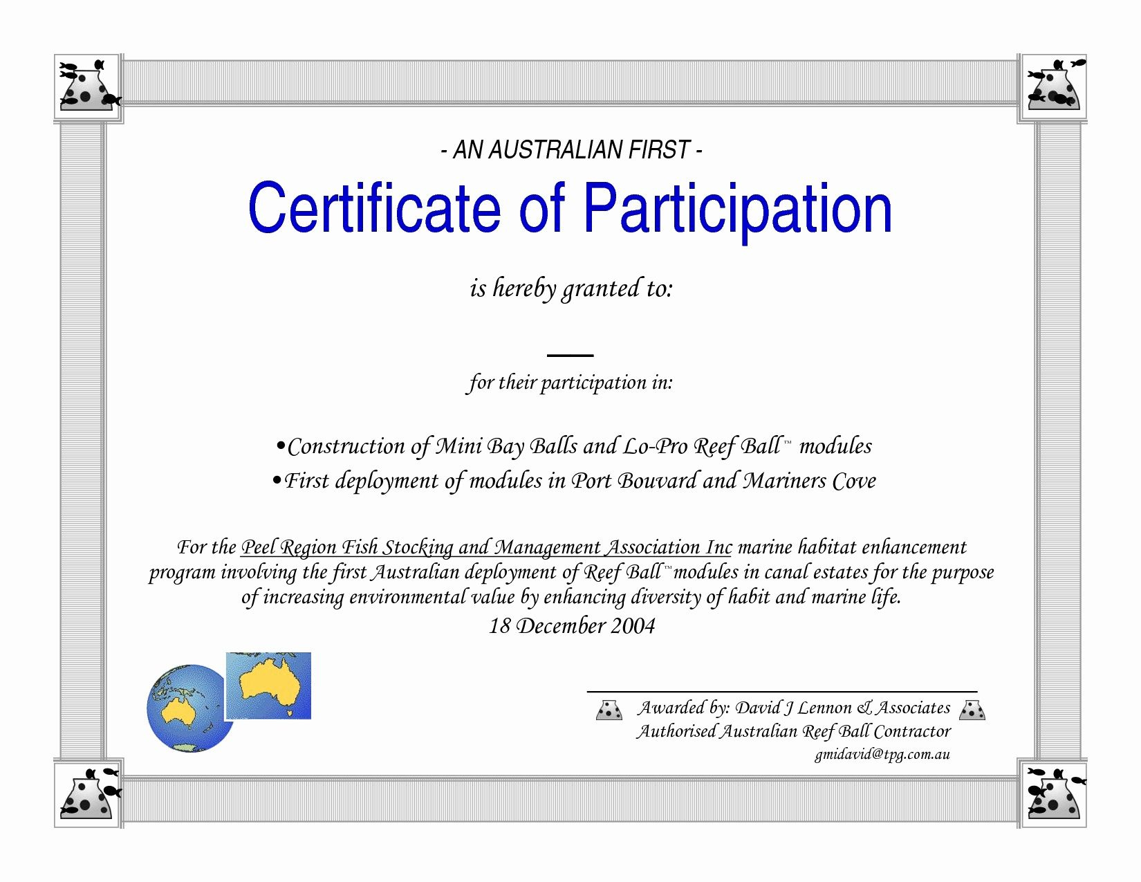 Sample Certificate Of Participation Template Inspirational throughout Best Free Templates For Certificates Of Participation