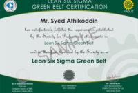 Sample Certificates  Lean Six Sigma India Intended For intended for Green Belt Certificate Template