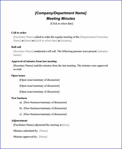 Sample Meeting Minute Templates  Formal Word Templates in Best Small Business Meeting Agenda Template