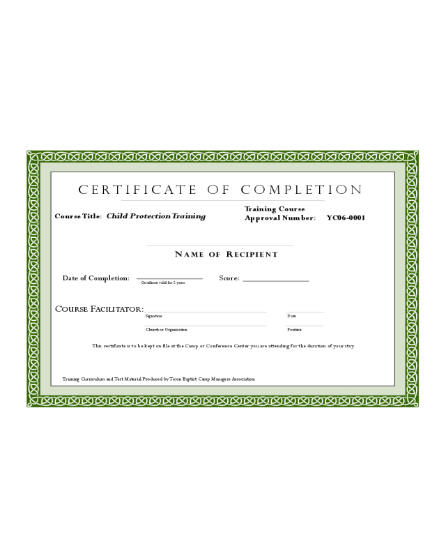 Sample Training Completion Certificate Template  Edit within Printable Training Completion Certificate Template