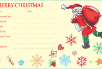 Santa With Gift Bag Gift Certificate Template with Awesome Holiday Gift Certificate Template Free 10 Designs