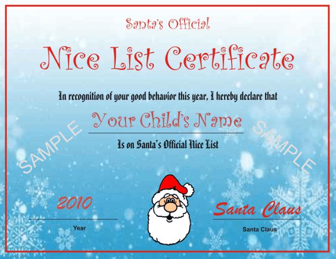 Santa'S Nice List Certificate  Blue Snowflake Design with regard to Santas Nice List Certificate Template Free