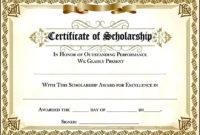 Scholarship Award Certificate  Sample Templates  Sample intended for Template For Certificate Of Award
