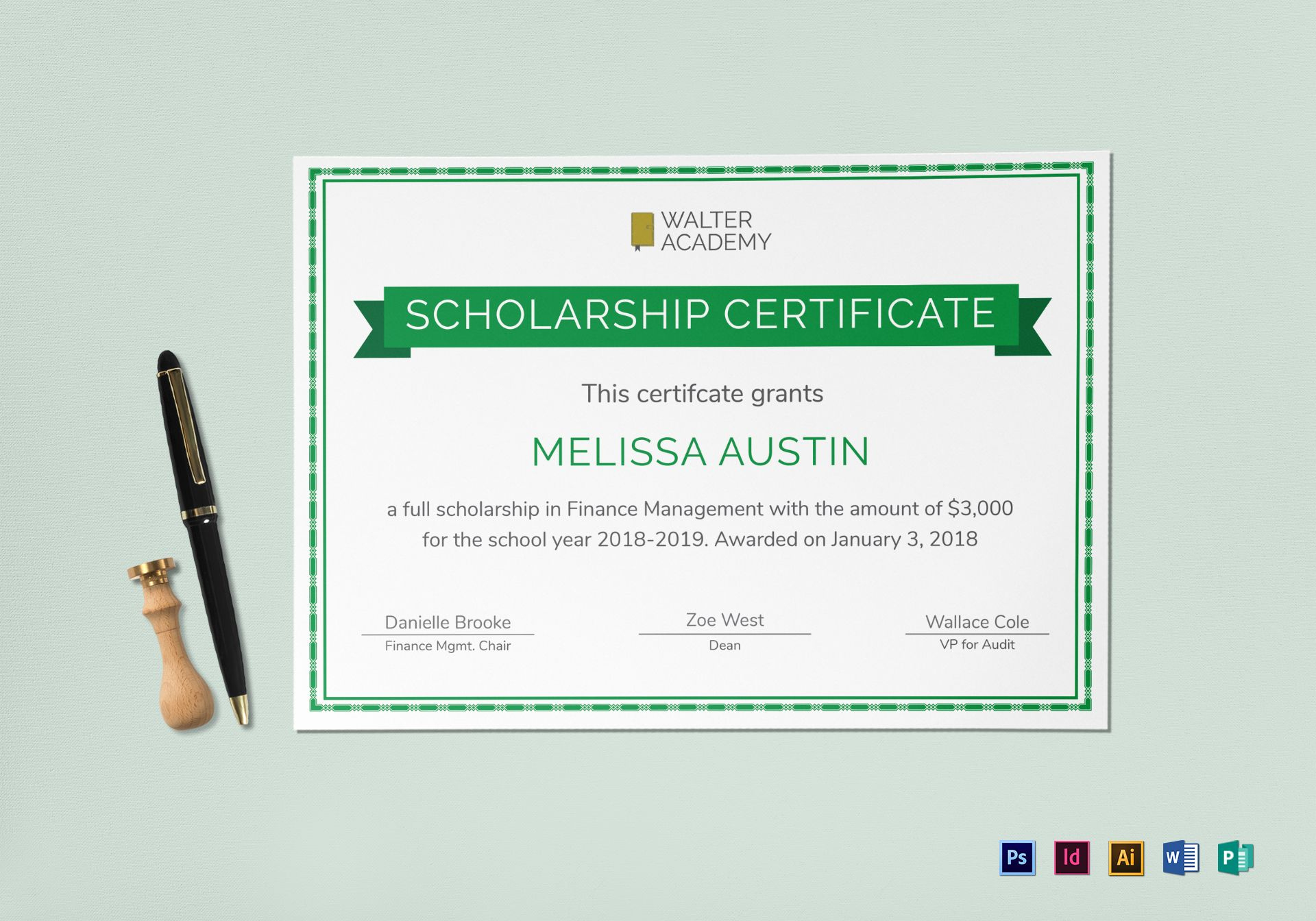 Scholarship Certificate Template Inside Indesign with regard to Free Indesign Certificate Template