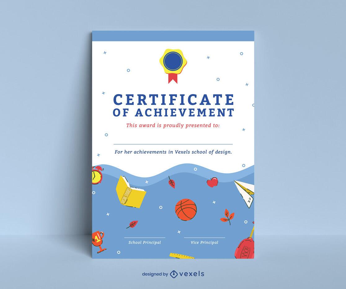 School Certificate Template Design  Vector Download for Quality Certificate Templates For School