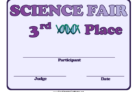 Science Fair Third Place Achievement Certificate Template with regard to Awesome Science Achievement Certificate Templates
