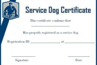 Service Dog Id Card Template Best Of Service Dog with Service Dog Certificate Template