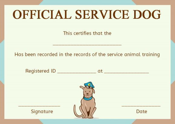 Service Dog Training Certificate Template  Service Dogs in Printable Dog Obedience Certificate Template