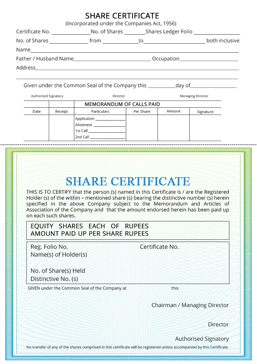 Share Certificate  Indiafilings Intended For Template For throughout Template For Share Certificate