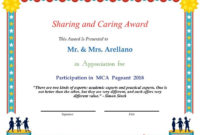Sharing And Caring Award  Participation In Mca Pageant with Pageant Certificate Template