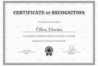 Simple Certificate Of Recognition Design Template In Psd Word with regard to Template For Certificate Of Appreciation In Microsoft Word