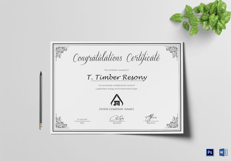 Simple Congratulation Certificate Template  Certificate with Congratulations Certificate Word Template