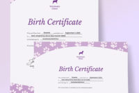 Simple Pet Birth Certificate Template  Word Doc  Psd with regard to Pet Birth Certificate Template 24 Choices