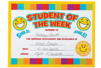 """Smile Face """"Student Of The Week"""" Certificates throughout Student Of The Week Certificate"""