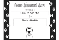 Soccer Achievement Award Certificate  Free Certificate throughout Printable Soccer Mvp Certificate Template