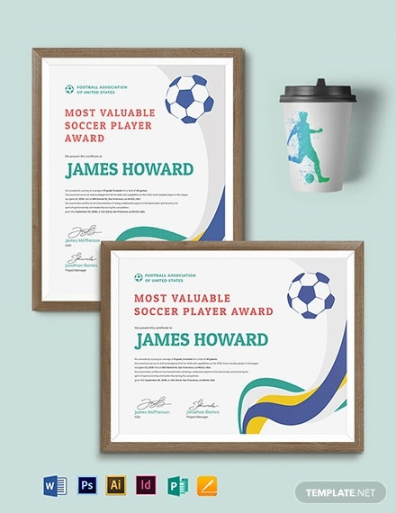 Soccer Certificate  13 Word Psd Ai Indesign Format pertaining to Soccer Certificate Templates For Word
