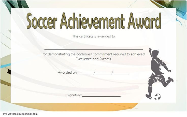 Soccer Certificate Of Achievement Free Printable 6 In 2020 with regard to Printable Soccer Mvp Certificate Template