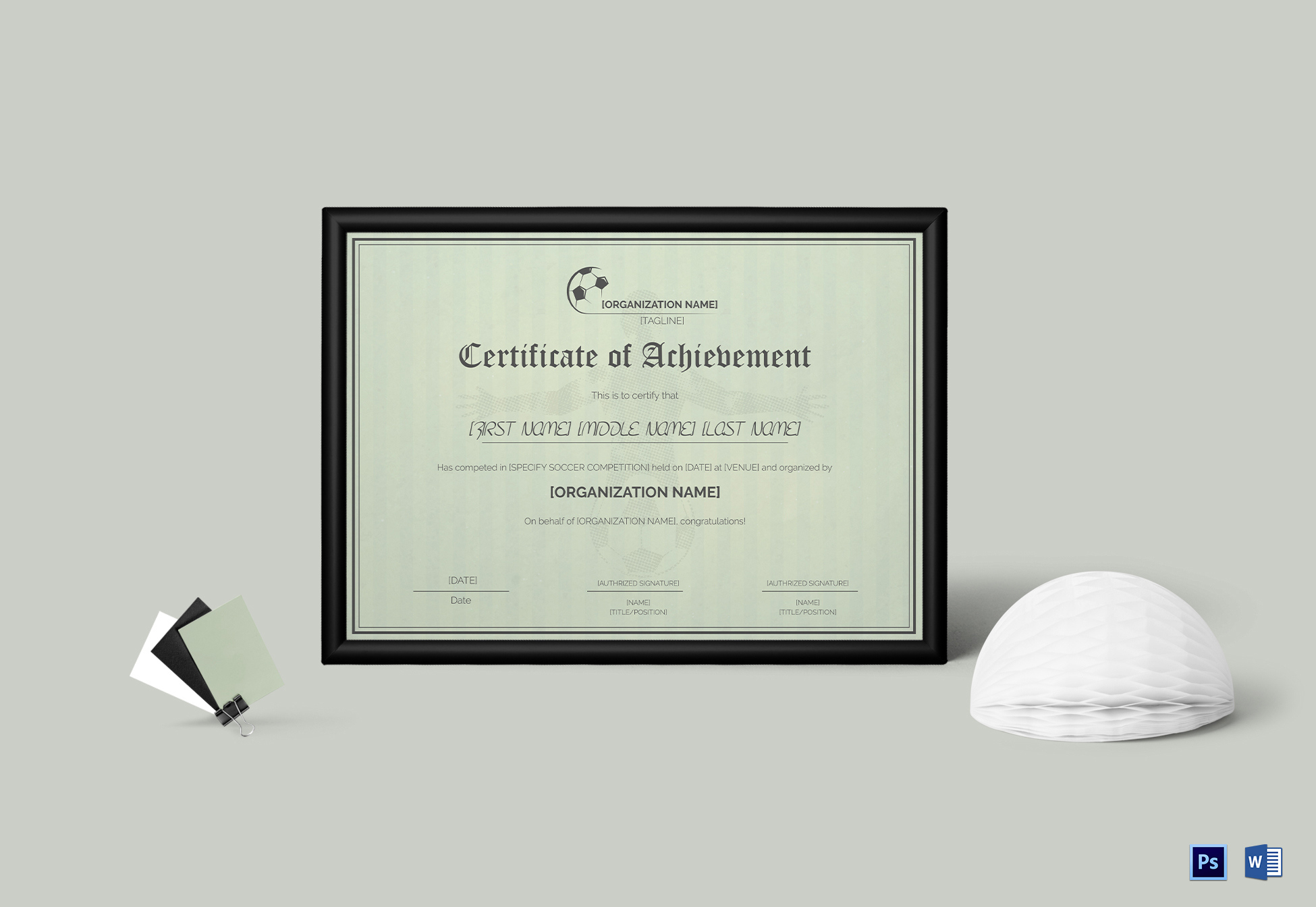 Soccer Sports Certificate Design Template In Psd Word for Awesome Athletic Certificate Template