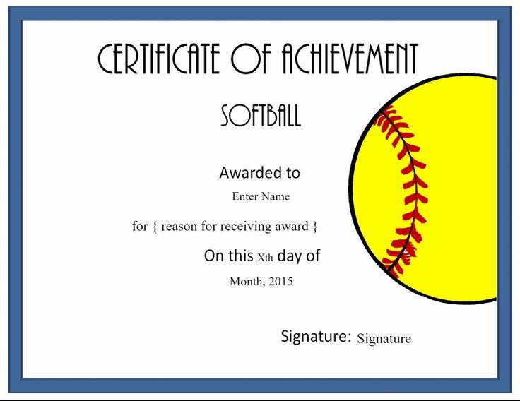 Softball Award Certificate Template Lovely Printable Award for Softball Award Certificate Template