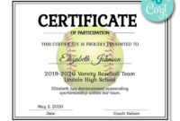 Softball Certificate In 2020 With Images  Certificate for Printable Softball Certificate Templates Free