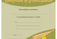 Softball Certificate Of Participation Template Download with Netball Participation Certificate Editable Templates