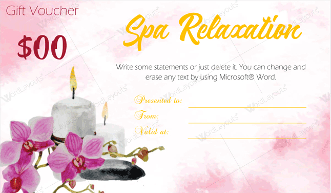 Spa Gift Certificate Template 22 Editable  Printable regarding Amazing Spa Gift Certificate