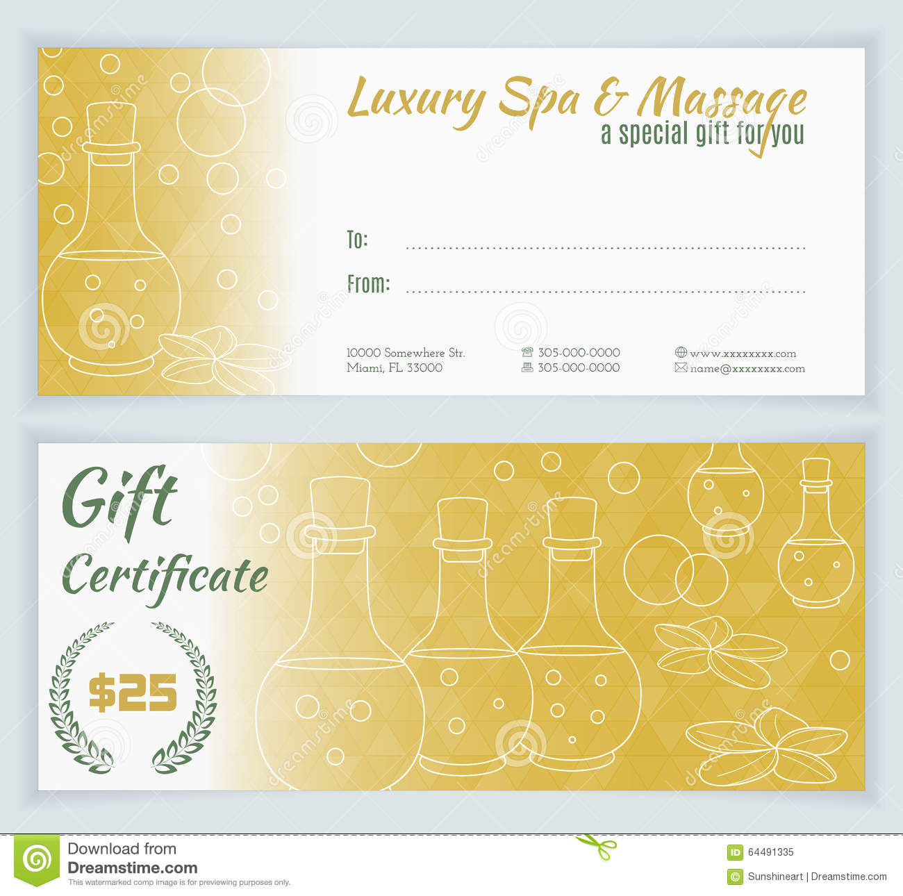 Spa Massage Gift Certificate Template Stock Illustration intended for Massage Gift Certificate Template Free Download
