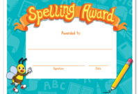 Spelling Bee Award Certificate Template In 2020 within Student Council Certificate Template 8 Ideas Free