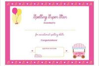 Spelling Super Star Printable Award Certificate inside Amazing Star Reader Certificate Template