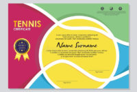 Sport Theme Certificate Of Participation Template Stock regarding Tennis Gift Certificate Template
