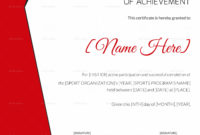 Sports Achievement Award Certificate Design Template In regarding Baseball Award Certificate Template