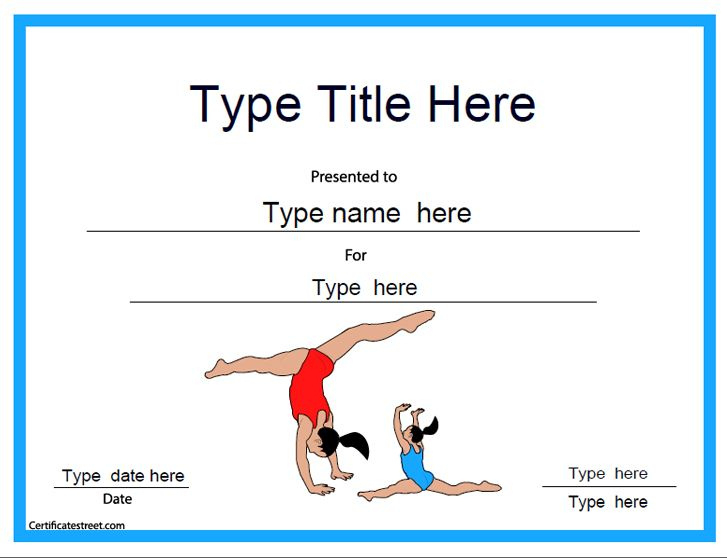 Sports Certificate  Gymnastic Template for Free Free 10 Fitness Gift Certificate Template Ideas
