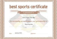 Sports Certificate Templates For Ms Word  Professional with Sportsmanship Certificate Template