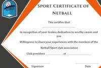Sports Certificate Templates Netball  Certificate for Printable Netball Certificate