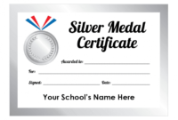 Sports Day Silver Medal Certificates  School Stickers with regard to Sports Day Certificate Templates Free