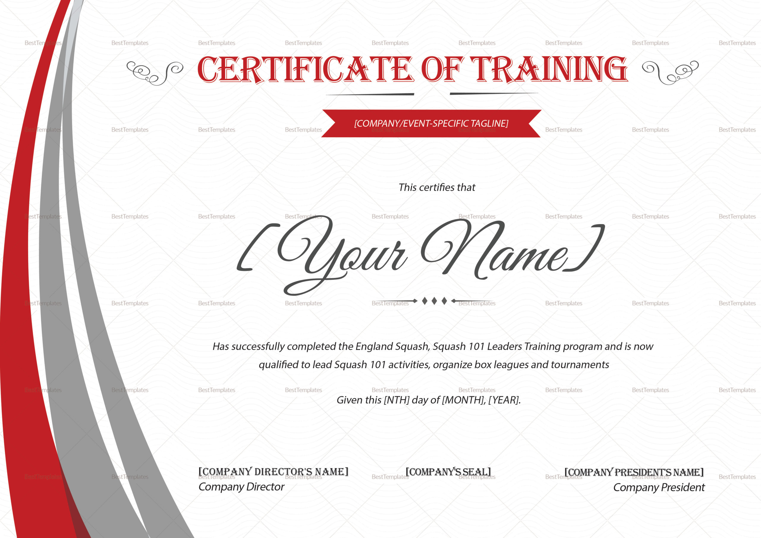 Squash Training Certificate Design Template In Psd Word inside Training Certificate Template Word Format